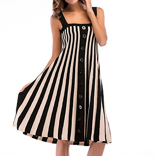 BURFLY Gestreiftes Kleid Frauen Sommer Spaghetti Strap Einreiher Kleid Strickkleid Gestreiftes Kleid (XL, Schwarz) -