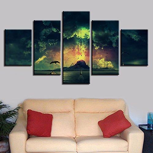 mmwin Modulare Bilder Für Wohnzimmer Dekorative 5 Panel Landschaft Abstrakte Foto Wand HD Poster Mode Leinwand Malerei