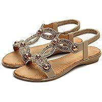 Sandalias Planas Mujer Verano,Bohemian Rhinestones Apricot Sandlas Comodidad Transpirable Elástica Sandalias Boho Moda Calzado De Playa De Gran Tamaño Slip En Vacaciones De Verano Casual Walking Sh