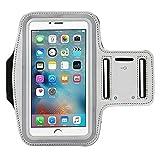 [4Pack] Premium Wasserabweisend Sport Armband mit Schlüsselfach für iPhone 7, 6, 6S (14cm), Galaxy, S6, S7, S3/S4, iPhone 5/5C/5S, Paket mit Displayschutzfolie vollständigen Zugriff auf Touchscreen