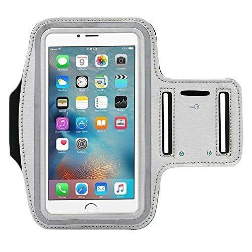 [4Pack] Premium Wasserabweisend Sport Armband mit Schlüsselfach für iPhone 7, 6, 6S (14cm), Galaxy, S6, S7, S3/S4, iPhone 5/5C/5S, Paket mit Displayschutzfolie vollständigen Zugriff auf Touchscreen -