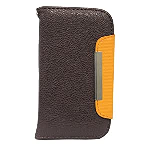 BRAIN FREEZER Z SERIES MAGNETIC HIGH QUALITY UNIVERSAL PHONE FLIP CASE COVER STAND FOR XOLO PLAY 6X-1000 BROWN ORANGE