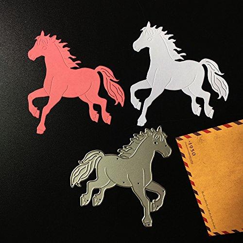 Stanzmaschine Stanzschablone,sunnymi Pferd Tiere DIY Dekor Sammelalbum Karten Buchzeichen Lesezeichen als Geschenk Für Freunde Geburtstag 92*97mm -