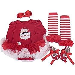 BabyPreg Niñas bebés Mi primera Navidad traje de Santa del partido del vestido 4PCS (Navidad de Santa Manga Larga, L/9-12 mes)
