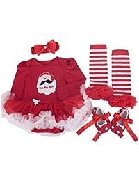 BabyPreg® Niñas bebés Mi primera Navidad traje de Santa del partido del vestido 4PCS