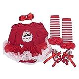 BabyPreg Neonate mio primo Natale costume della Santa del partito del vestito 4PCS (S/3-6Mesi, Natale di Santa Manica lunga)