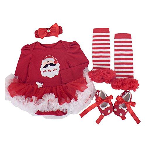 BabyPreg® Neonate mio primo Natale costume della Santa del partito del vestito 4PCS (L/9-12Mesi, Natale di Santa Manica lunga)