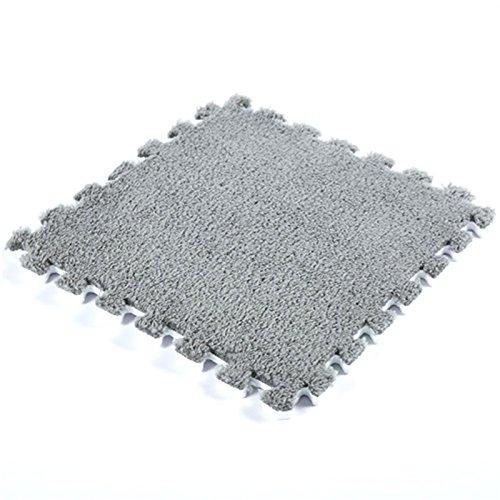 JYCRA ineinandergreifende Schaumstoff MATTEN, 9Flauschig Gummibodenmatte Teppich Fliesen Plüsch Bereich Teppich Ideal für Kinderzimmer Dekor, Baby Raum, Spielzimmer und Kinder, Dunkelgrau, 9Pack (Plüsch-teppich-matte)