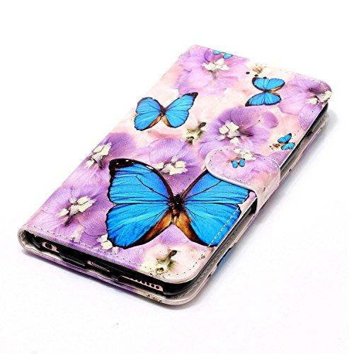 Custodia iPhone 6 , Slynmax Custodia Portafoglio [Slot Per Schede] [Chiusura Magnetica] [Funzione Stand] [Cuoio PU] Custodie Protettive Ultra Sottili Custodie Protettive Magnetic Closure Carte di Cred Farfalla