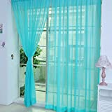 Brussels08 Solid Sheer Window Curtains Drape Panels Tulle Voile Bathroom Door Curtain Valances (Blue)
