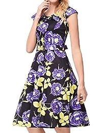 HEFEI 2018 Nuevo Estampado de Flores con cinturón de Cuello Azul Marino Un Vestido Retro de Palabra Vestido XIAOXIAO (Color : Púrpura,…