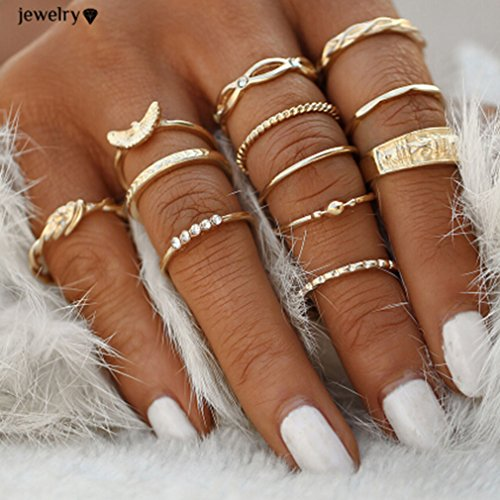 Elistelle 12 pcs Midi Ring Set D...