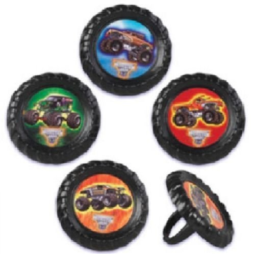CakeDrake MONSTER Truck Jam GRAVE DIGGER El Toro Loco MAX-D Mutt (24) CupCake Party Rings by ()