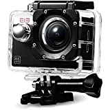 Original Elephone ELE CAM Explorer Action Camera WiFi 4K con Sony Sensor 16MP Visión 170°DVR Videocámara Full HD 1080P/60fps,Impermeable Actioncam con Accesorios Múltiples Negro