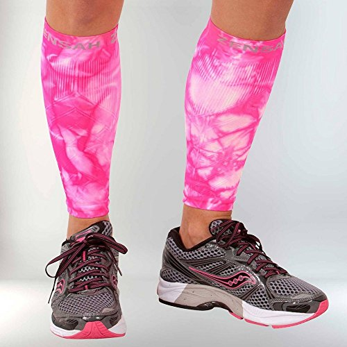 Kompressionsstulpen für die Unterschenkel von Zensah X-Small Tie Dye Neon Pink