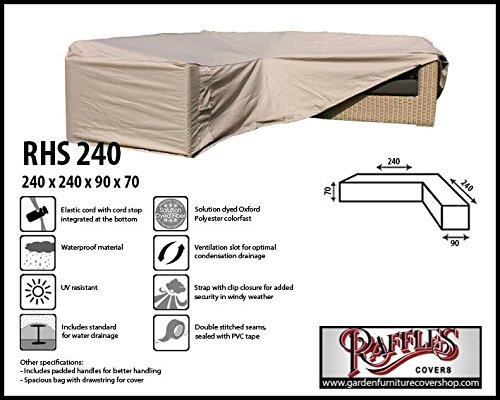 RHS240 Loungemöbel Abdeckschutz für L-Form, passt am besten am Set von max. 235 x 235 cm. Abdeckung für Lounge Eckset, Schutzhülle in L-Form für Lounge Sets, Schutzplane, Regenschutz Ecklounge