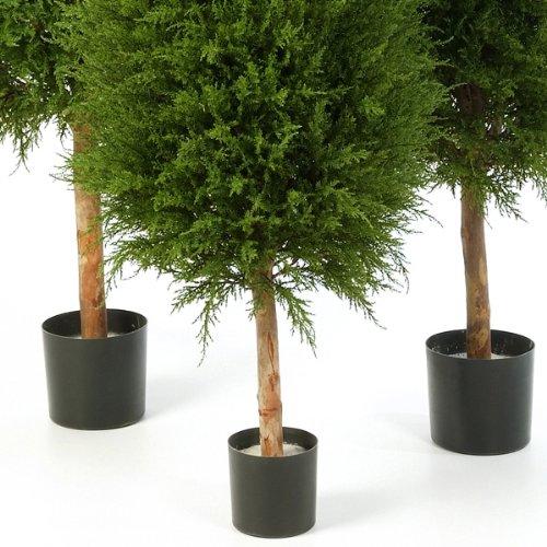 artplants – Künstlicher Edel-Zeder Yvonne im Zementtopf, 120 cm – Deko Zypresse/Kunst Konifere
