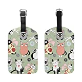 BENNIGIRY Cute Cats Luggage Tags PU Leather Suitcase ID Tags Travel Luggage Baggage Handbag Tag Labels Travel Accessories, 1 PCS