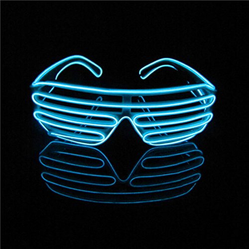 Lerway EL Draht Neon Wire, Leuchtbrille LED Partybrille Glühen Auge Brille Spielzeug Gläser für Holloween,Weihnachten, Nacht Party, Kostüm Konzert Rave,Nacht Aktivitäten (Licht Blau, Schwarz Rahmen)
