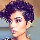 Fleurapance Perruque courte avec aspect super naturel et coupe bob style bobo pour femme Noir/Blond Résistante à la chaleur Cheveux synthétiques bouclés à l'apparence réelle