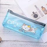 Astuccio Per Matita Trasparente Per Scuola Astuccio Per Bambina Per Ragazza Cancelleria Kawaii Animal Cat Pen Box Materiale Scolastico Blu