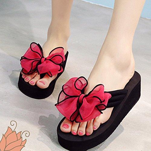Confortable L'été porte les glissades à l'arc Chaussons féminins à talons hauts Chaussures raides et épaisses Sandales plats Sandwich (4 couleurs en option) (taille facultative) Augmenté ( Couleur : A D