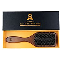 NATURAL BOAR BRISTLE PADDLE HAIR BRUSH - Easily detangles hair, massages scalp and keeps hair naturally oiled and conditioned - Suitable for all hair types and length - GAINWELL