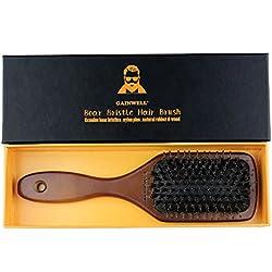 BROSSE À CHEVEUX PLATE EN SOIE DE SANGLIER NATURELLE - Utilisée par les coiffeurs professionnels
