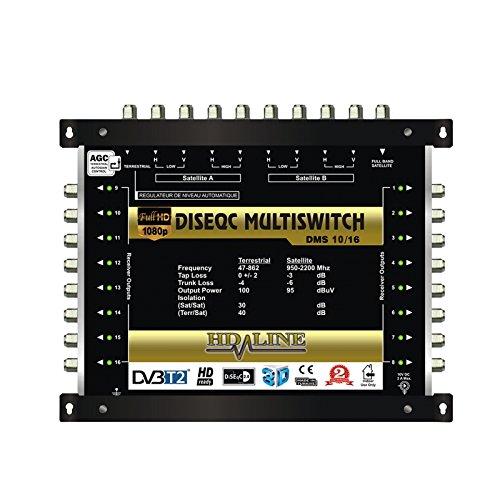 Digital Multischalter 9 / 16 mit Netzteil 16 Teilnehmer HQ HDTV 3D sky Multiswitch + Extra Anschluss Digiturk