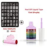 Perfect-Summer-Nails-Art-Stainless-Steel-Template-with-Multi-designs-Patterns-+-Pink-Stamper-Plate-and-Scraper-+-15ml-Nail-Liquid-Tape-Base-Coat-Palisade-(Purple)