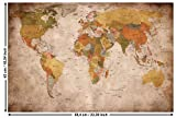 GREAT ART Poster - Mappamondo - (59,4 x 42 cm) Decorazione da Parete Old School Vintage World-Map Globo Retro Continenti Atlante Geografia Used Look DIN A2