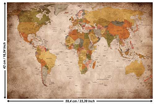 GREAT ART Poster - Weltkarte - (59,4 x 42 cm) Wandbild Dekoration Old School Vintage World-Map Globus Kontinente Atlas Retro-Weltkugel Geografie Wandtapete Used Look DIN A2