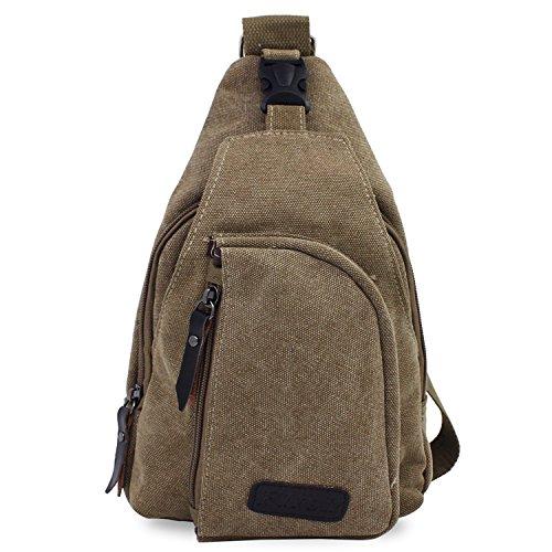 PsmGoods® Männer Umhängetasche Freizeit-Segeltuch-Taschen Reisen Wandern Tasche Rucksack Chest Pouch Sling (Khaki Groß) (Khaki Wandern)