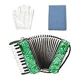 Nannday Fisarmonica a Piano, Strumento Musicale a Fisarmonica per Pianoforte a 8 Tasti a 22 Tasti per Studenti Principianti(Verde)