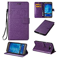 Galaxy j7 Wallet Case ESSTORE-EU Retro Elephant PU Leather Protective Covers with Card Slot Holder Wallet Case for Samsung Galaxy j7, Purple