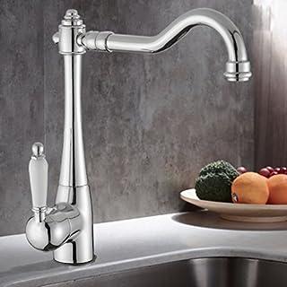 Wanfor Elegant Einhebelmischer mit weißem Griff Waschbecken Waschbecken Wasserhahn Retro-Chic, Küchen Badinstallation Waschtischarmaturen