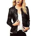 Damen Jacken Elegant Herbst Jacke Festlich Langarm Rundhals Mode Vintage Blazer Casual Slim Fit Jacket Mit Pailletten Glitzer Coat Partei Formal Mantel