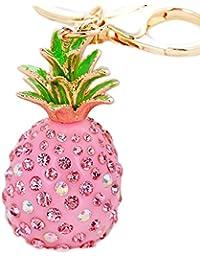 itemer Bling Strass Ananas Schlüsselanhänger Metall Charm Anhänger Handtasche Schlüsselanhänger Key Ring Kette Geschenk, metall, rose, 1