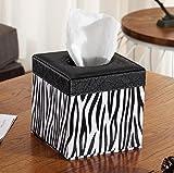 Valleycomfy scatola del tessuto PU supporto quadrato contenitore/rotolo di carta di decorazione per casa/ufficio/auto/hotel 13.5*13.5*13.5cm Stripe