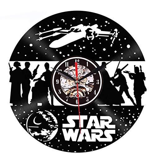 GYGUYHIHY Star Wars Wanduhr Aus 30 cm Vintage Vinyl Record - Einzigartiges Geschenk Für Weihnachten Retro Nostalgic Home Decoration Mute Wanduhr (Star Ausgeschnitten Wars)