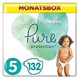 Pampers Pure Protection, Gr.5 Junior 11+ kg, Monatsbox (1 x 132 Stück), mit Premium-Baumwolle