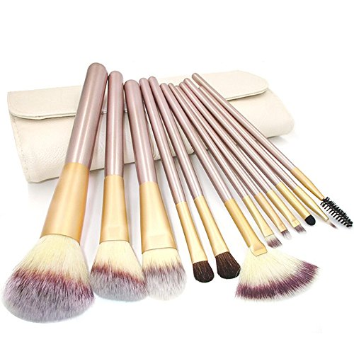 Nestling® Pinceaux Sets - Maquillage naturel Brush Set - Doux Kabuki Pinceaux de Maquillage - 12 pcs Professionnel Produits de beauté Brosses Kits - En bois Handle Maquillage Tool Set & Beige Pouch