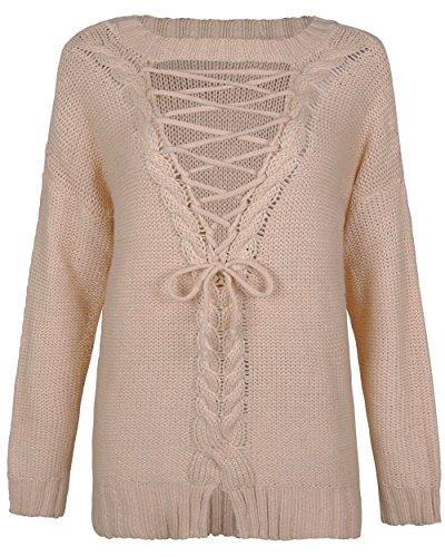 Zaywind Damen Fashion Strick Sweatshirt Rückenfrei Knit Cardigan Casual Lace up Jumper Oversize Pullover Oberteil, Khaki, Gr. S Knit Cardigan Pullover
