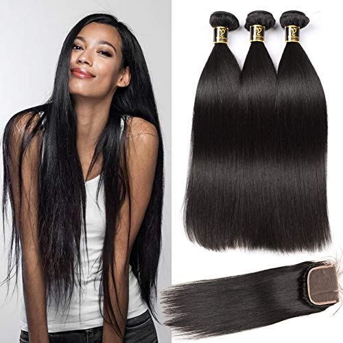 Yavida Human Hair Bundles with Closure Brazilian Hair Waves Echthaar Extensions Brasilianische Haare Straight Hair with Lace Closure 12 14 16+10 Inch Closure Human Hair