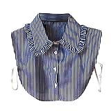 Yvelands Damen Streifen Knopf Bluse falscher Kragen Kleidungs Hemd abnehmbare Kragen(Hellblau,)