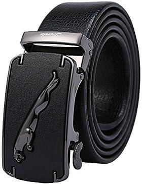 GTUKO-Cinturón Cinturón De Cuero Genuino De Los Hombres Jaguar Business Suits Hebilla Reversible Casual Con Trinquete...