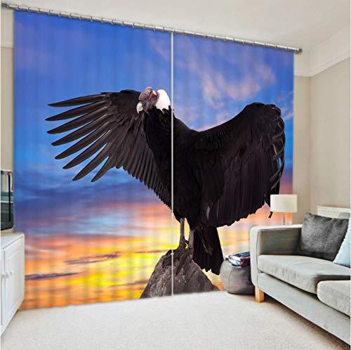 WKJHDFGB Papagei Digital Art Personalized Custom Vorhänge Digital 3D Shading Zweige Auf Das Fertige Produkt,215X320Cm
