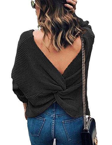 Junshan Junshan Damen Pullover langarm Casual V-Ausschnitt mit Knoten im Rücken sexy Pulli 36-44 8 Größe (36, schwarz) (Schwarz Gestreifter Pullover Und Grau)