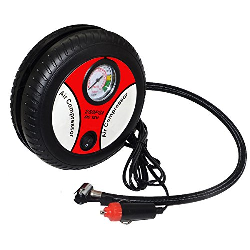 Preisvergleich Produktbild Tragbare Reifenfüller Mini Automotive Pumpe für Auto Motorrad Bike Gummi Boot und Ball, DC12V 260PSI Kompressor