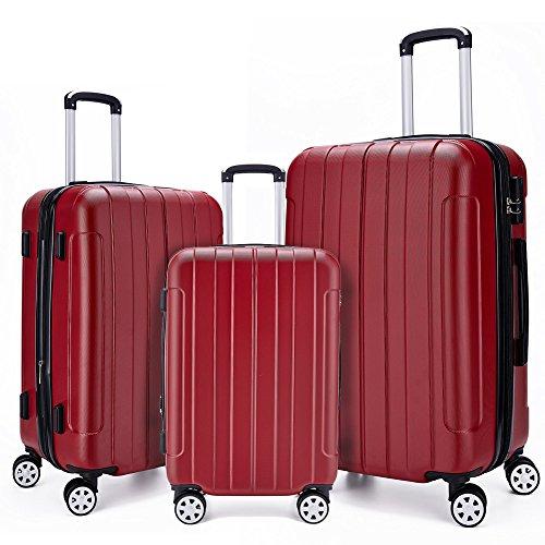 Fochier Bagagli 3 Pezzo Fissato Espandibile Hard Shell Spinner Valigia Leggera(20' 24' 28'),Rosso